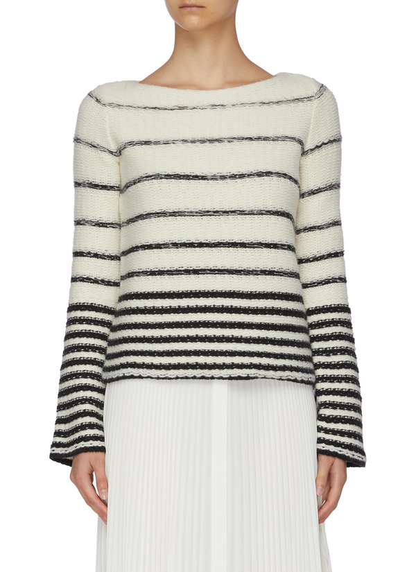 Theory Women's Uneven Striped Wool-cashmere Sweater In Black,white