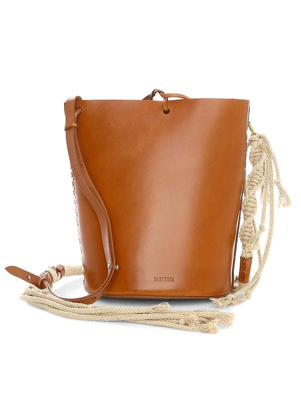 Nanushka Women's Nia Leather Bucket Bag - Tan