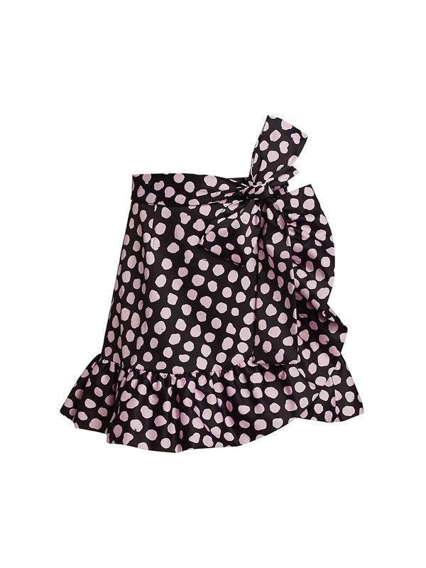 Tanya Taylor Women's Daphne Polka Dot Flounce Mini Skirt In Painterly Dot Black Multi
