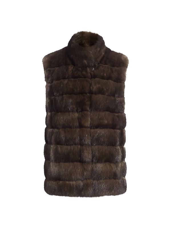 The Fur Salon Sable Fur Stand Collar Vest In Barguzin