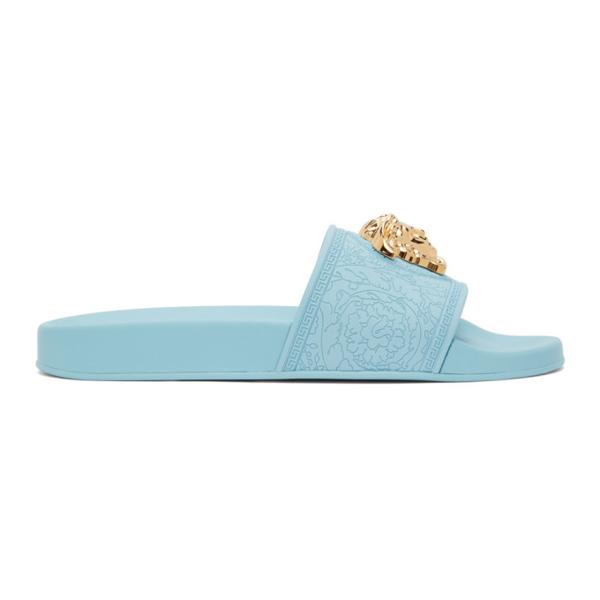 Versace Palazzo Medusa Slide Sandal In Light Blue
