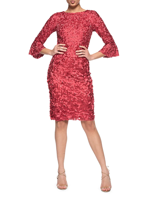 Theia Women's Boatneck Cocktail Hand-embroidered Dress In Rouge