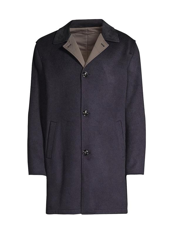 Kiton Men's Reversible Leather-cashmere Rain Coat In Navy