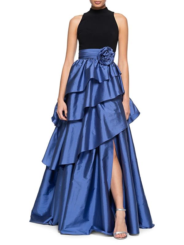 Theia Women's Tiered Asymmetrical Taffeta Ball Gown In Black Blue