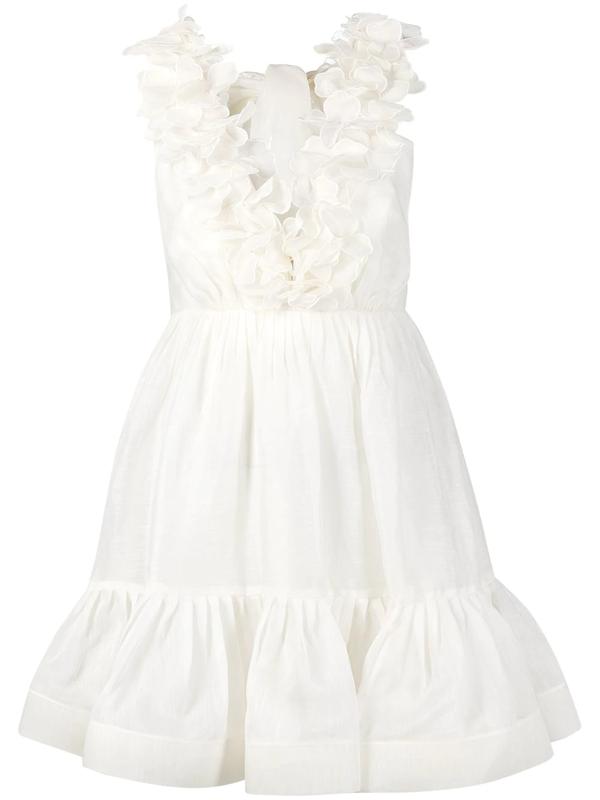 Zimmermann The Lovestruck Garland Mini Dress In White