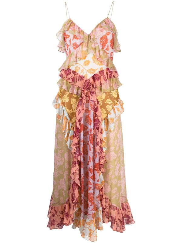 Zimmermann Lovestruck Rose-print Asymmetric Maxi Dress In Pink