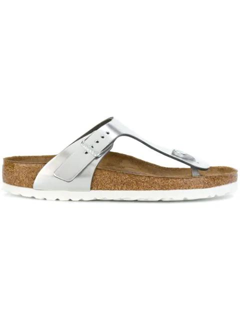 Birkenstock Gizeh Leather Sandals In Metallic