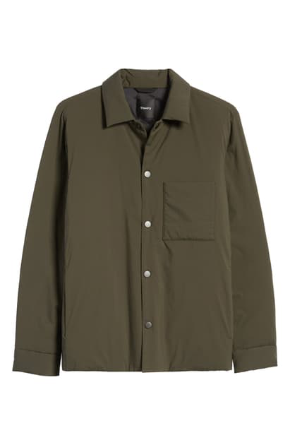 Theory Walker Snap-front Shirt Jacket In Grove