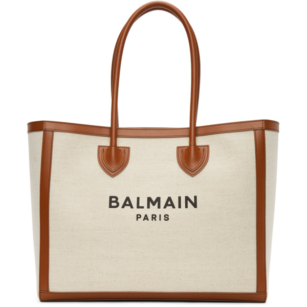 Balmain B-army Large Leather-trimmed Cotton And Linen-blend Canvas Tote In Neutral