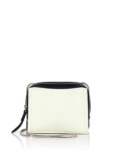 Soleil Mini Two-tone Leather Zip Crossbody Bag In Ivory-black