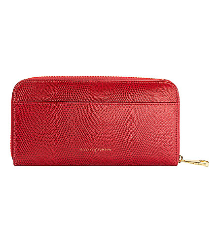 Aspinal Of London Continental Leather Zip-around Wallet In Berry