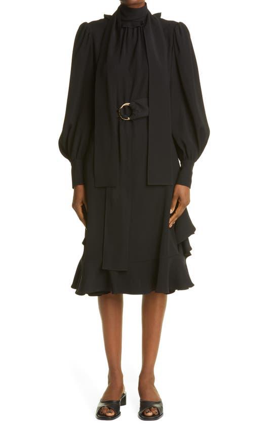 Adeam Long Sleeve Scarf Dress In Black