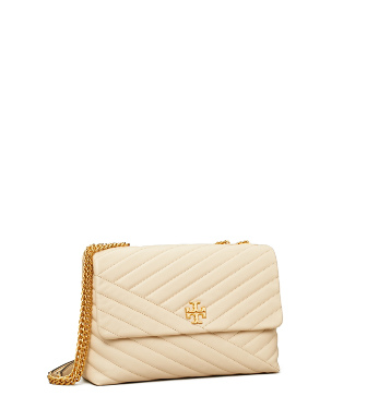 Tory Burch Women's Kira Small Chevron Leather Shoulder Bag In New Cream