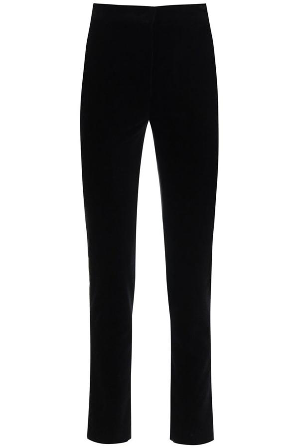 Max Mara Studio Velvet Cigarette Trousers In Black