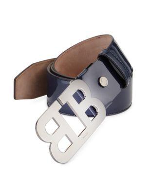 Bally Mirror B Leather Belt In Ink Blue