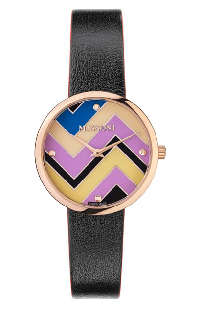 Missoni M1 Joyful Chevron Dial Leather Strap Watch, 34mm (nordstrom Exclusive) In Rose Gold / Multicolor