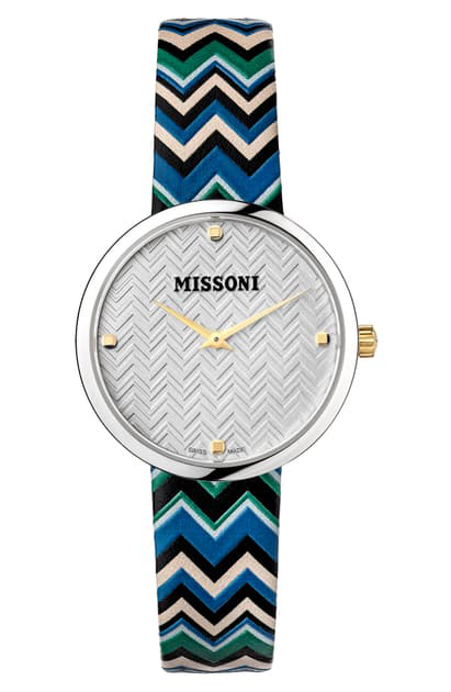 Missoni M1 Joyful Chevron Leather Strap Watch, 34mm (nordstrom Exclusive) In Stainless Steel / Silver