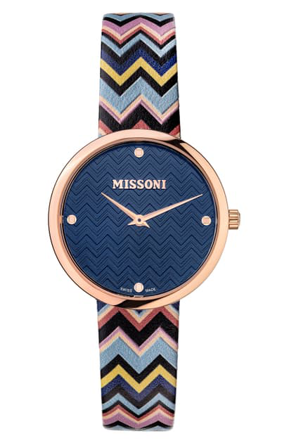 Missoni M1 Joyful Chevron Leather Strap Watch, 34mm (nordstrom Exclusive) In Rose Gold / Blue