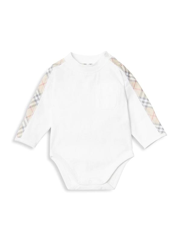 Burberry Baby's Alby Four-piece Bodysuit, Hat, Bib & Pouch Set In White