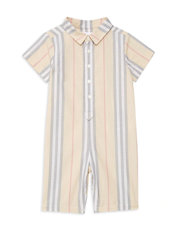Burberry Baby's Kirk Woven Romper In Pale Stone