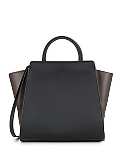 Zac Zac Posen Eartha North/south Leather Satchel In Black - Brown