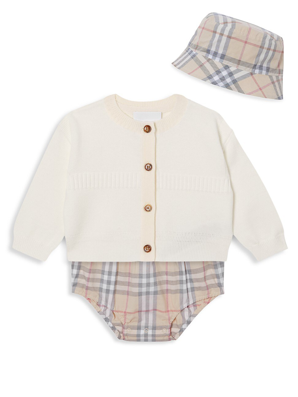 Burberry Baby Girl's 3-piece Norah Set In Pale Stone