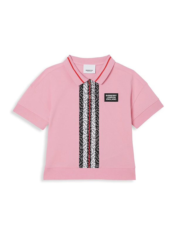 Burberry Kids' Little Girl's & Girl's Rebecca Monogram Polo Shirt In Candy Pink
