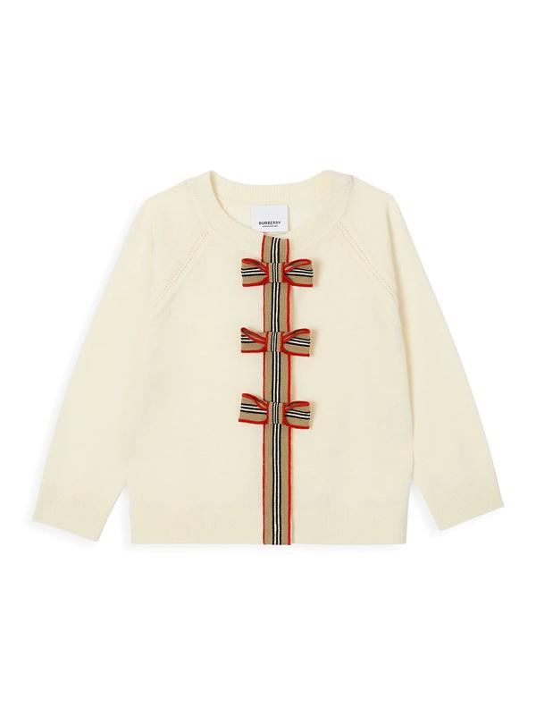 Burberry Kids' Little Girl's & Girl's Corrina Bow Wool Cardigan In Ivory
