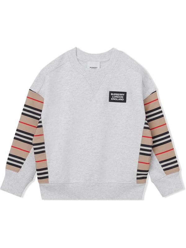Burberry Kids' Little Girl's & Girl's Icon Stripe Sweatshirt In White Melange