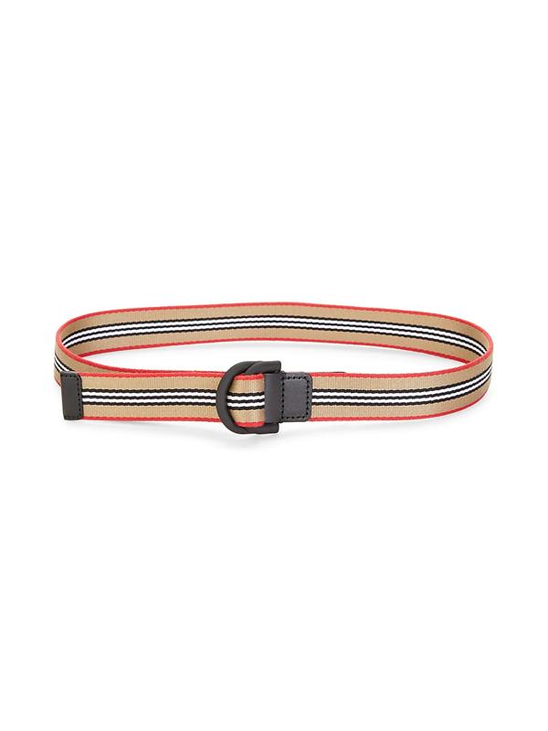 Burberry Double D-ring Stripe Belt In Beige