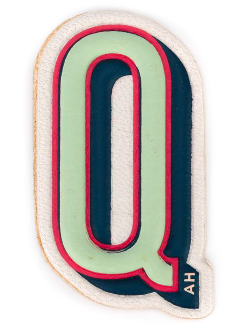 Anya Hindmarch X Chaos Fashion 'q' Alphabet Leather Sticker In Grey