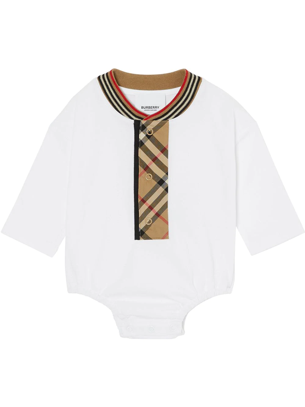 Burberry Babies' Vintage Check Trim Bodysuit In White