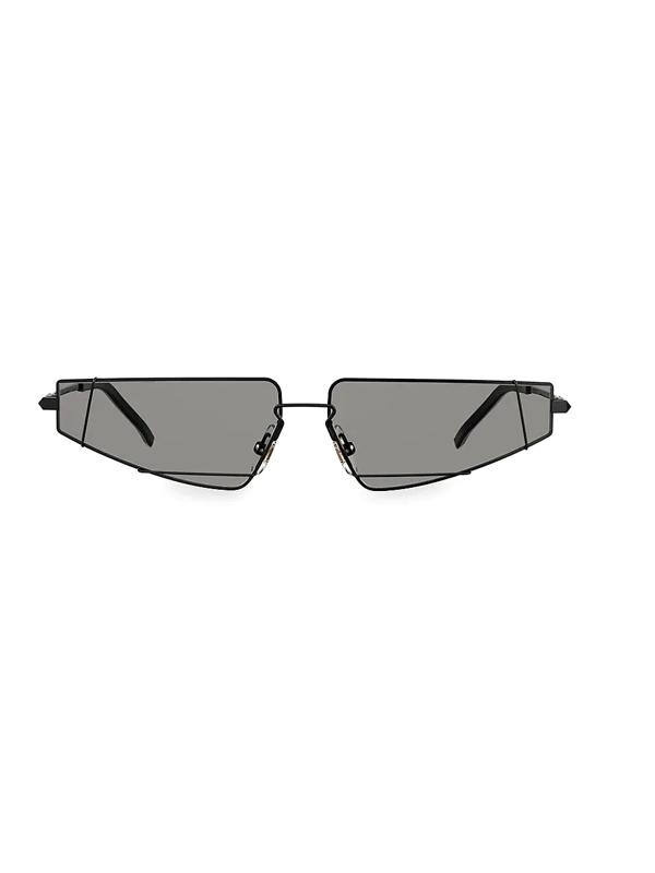 Fendi Men's 61mm Futuristic Triangle Wire Frame Sunglasses In Black