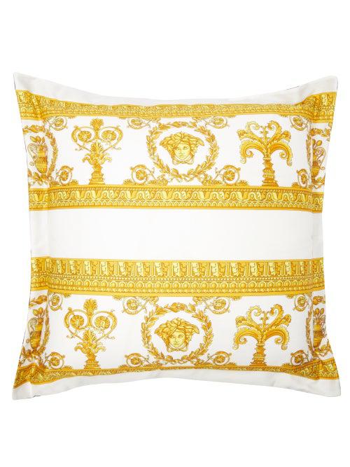 Versace Baroque-print Cotton Cushion In Gold Multi