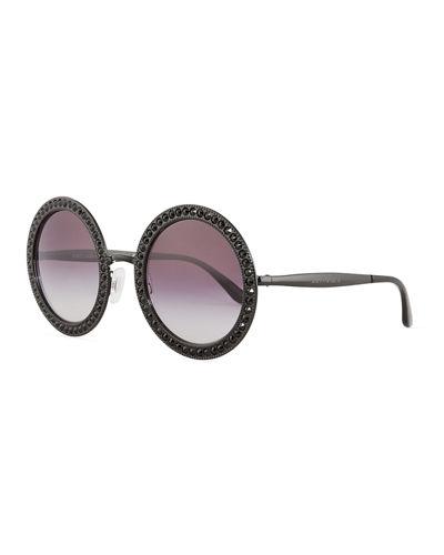 d3f1d1b279b Dolce   Gabbana Oversized Round Metal Swarovski Reg  Sunglasses In  Black Grey