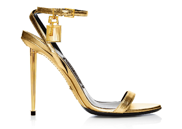 Tom Ford Napa Simple Strap Evening Sandal In Gold
