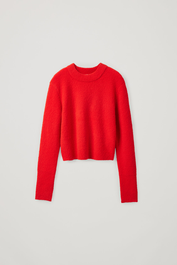 Cos Cropped Wool Mix Jumper In Red