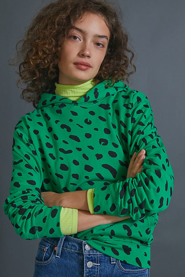 Clare V . Cheetah Spotted Hoodie In Green