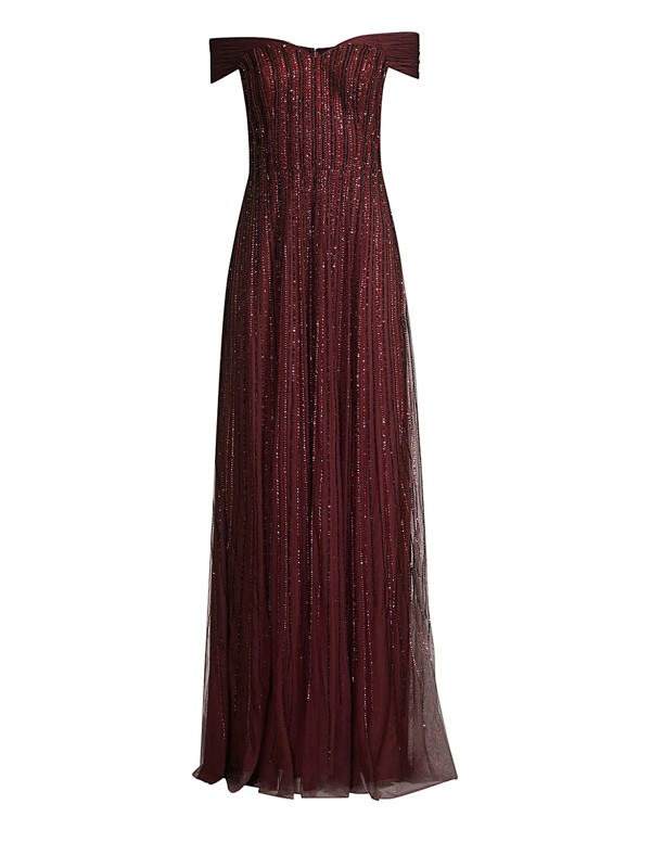 Basix Black Label Women's Off-the-shoulder Beaded Gown In Burgundy