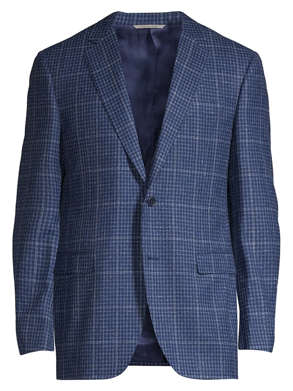 Canali Men's Windowpane Wool Sportcoat In Blue