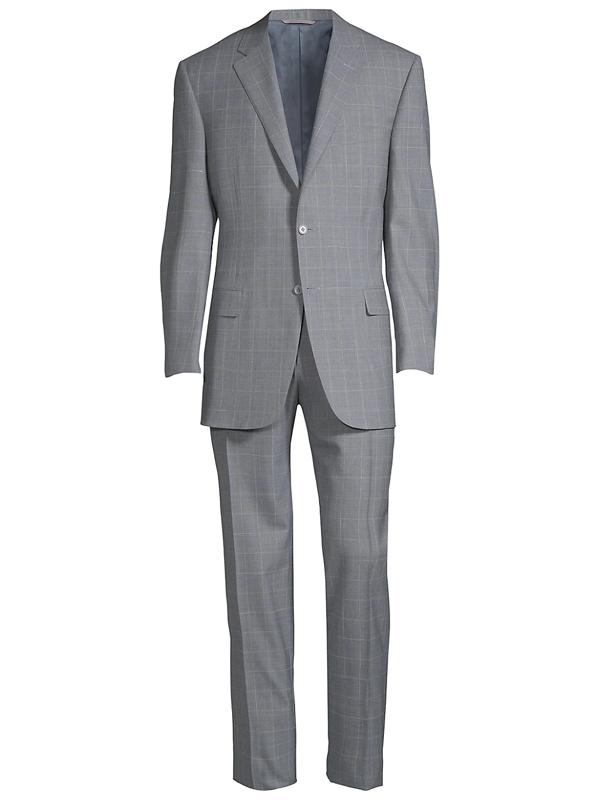 Canali Men's Tonal Windowpane Wool Suit In Grey