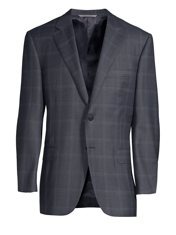 Canali Men's Classic-fit Wool Windowpane Sportcoat In Blue