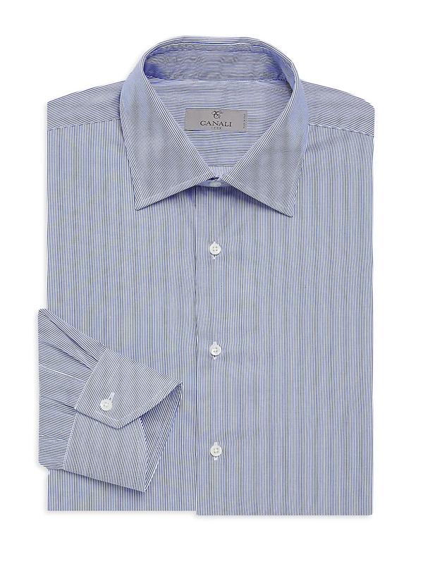Canali Men's Narrow Bangle Stripe Cotton Dress Shirt In Blue