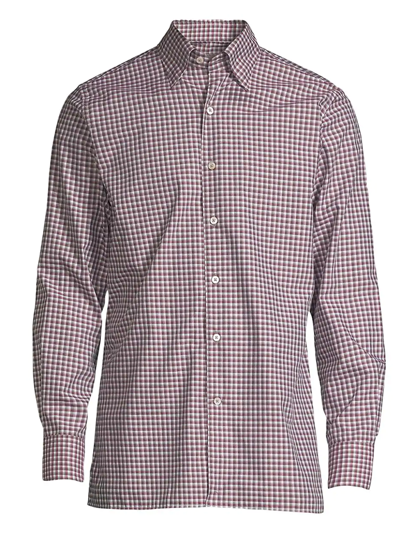 Canali Men's Checked Sport Shirt In Red