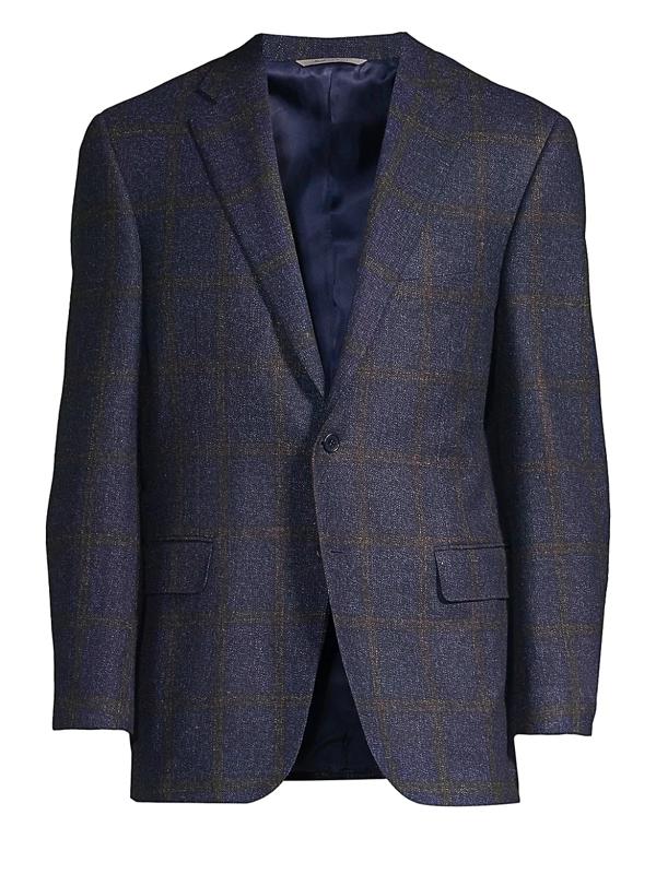 Canali Men's Textured Wool Window Pane Sportscoat In Navy