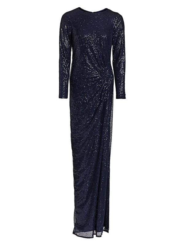 Teri Jon By Rickie Freeman Women's Ruched Sequin Gown In Navy