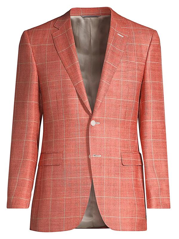Canali Men's Windowpane Wool-blend Jacket In Orange