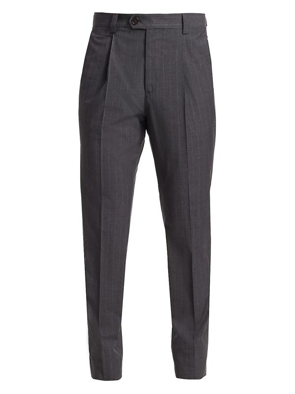 Brunello Cucinelli Men's Pinstripe Cotton Trousers In Dark Grey
