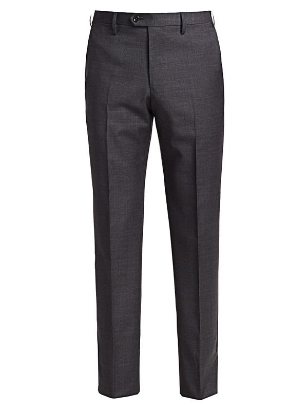 Giorgio Armani Men's Soft Micro Wool Trousers In Charcoal