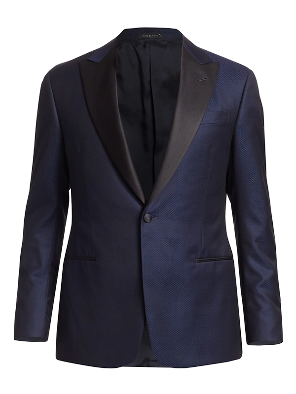 Giorgio Armani Men's Micro-chevron Cotton Dinner Jacket In Navy